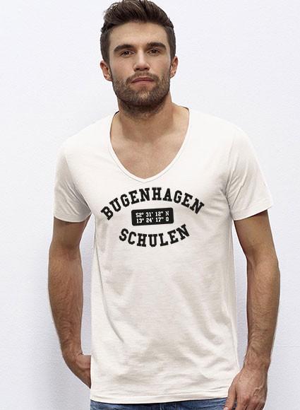Deep V-Neck Shirt Herren  -  vintage white