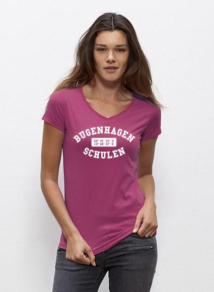 T-Shirt - V-Neck Damen - 100% Biobaumwolle - raspberry